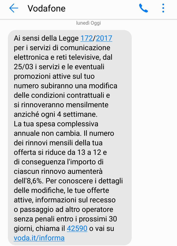 Vodafone sms tariffazione mensile
